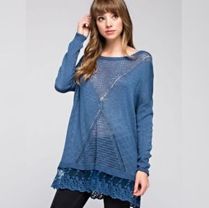 Blue Knit Top